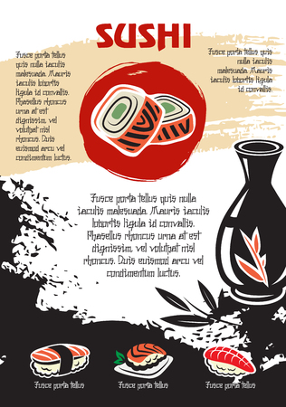 Japanese sushi or seafood restaurant vector poster
