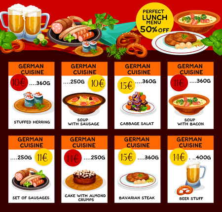 Menu price cards of German cuisine Çizim