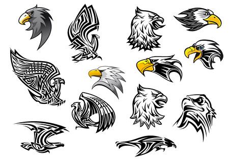 Ionen arend havik vogel voor mascotte of tattoo Stock Illustratie
