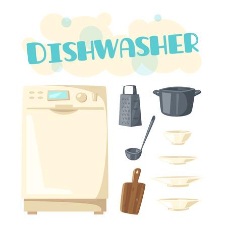 食器洗い機アプライアンスとベクトル キッチン食器  イラスト・ベクター素材