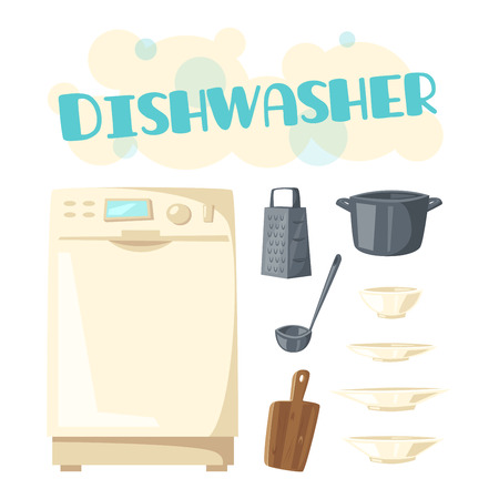 Dishwasher appliance and vector kitchen dishware