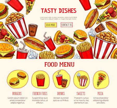 Vector web page template for fast food restaurant Stock Vector - 82097957