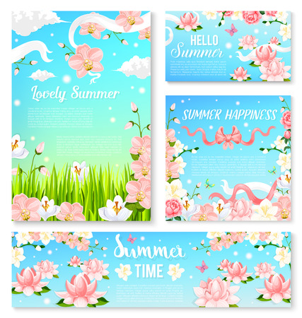 Summer time flowers banner and poster template set. Blooming flowers of orchid, lily and jasmine branches against blue sky with ribbon, bow and butterfly for summer season holiday greeting card design