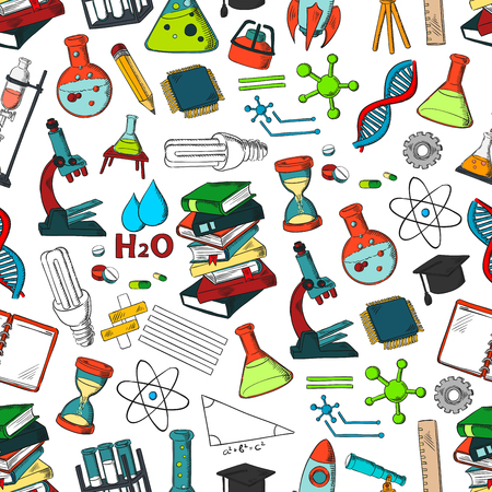 School supplies and science symbols pattern like microscope, beaker, vials, atom formula, telescope, mathematics equation and ruler.