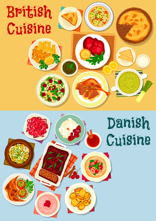 British and danish cuisine icon set of Fish vegetable stew, beef steak, cabbage and chicken salad, yorkshire pudding, fish soup, baked meat, potato, pie and pate, rice dessert, fruit bun, milk porridge