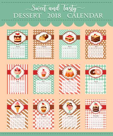 Kalendermalplaatje 2018 van bakkerij vectordesserts Stock Illustratie