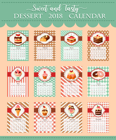 Calendar template 2018 of bakery vector desserts
