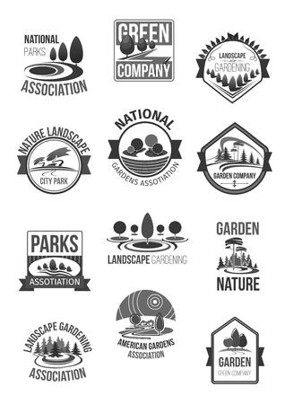 Natuur landschap bedrijf vector icons set Stock Illustratie