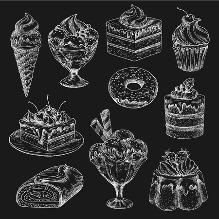 Cake and ice cream chalk sketch on blackboard Ilustrace