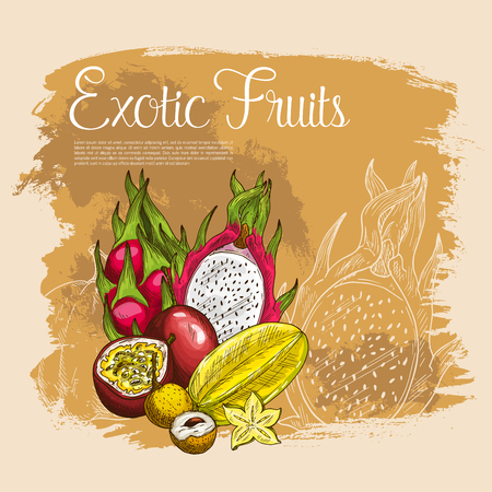 Vector poster of exotic tropical fruits Illustration