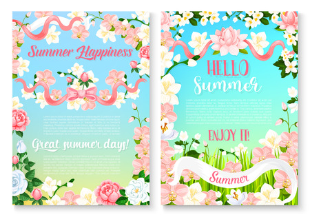 Summer holiday celebration poster set with flowers