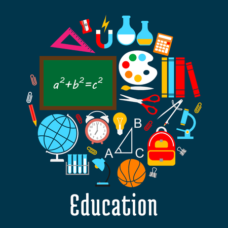 Education round symbol made up of school supplies Illustration