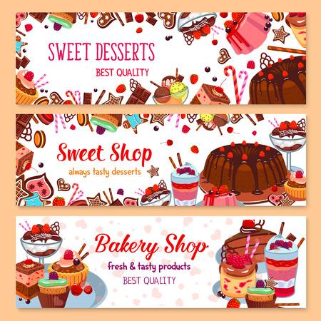 Bakkerij vectorbanners voor zoete dessertwinkel Stock Illustratie