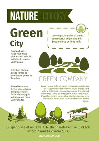 녹색 자연과 에코 환경 포스터 일러스트