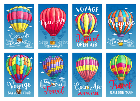 Vector posters for hot air balloon tour or show Ilustracja