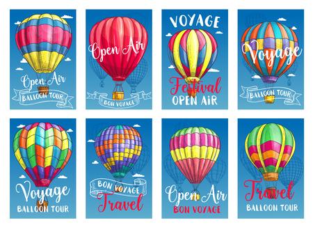Vectoraffiches voor luchtballonstocht of show