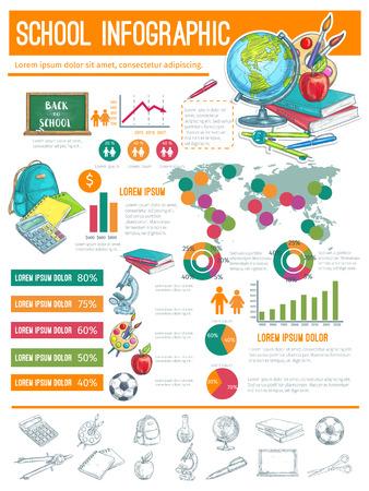 Back to School infographic banner background Illustration