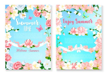 Summer season greeting card set with flower frame Illustration