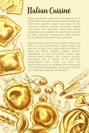 요리 템플릿에 대한 이탈리아 파스타 벡터 포스터