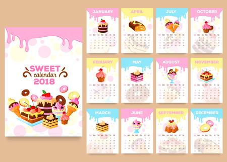 Bakkerij desserts vector kalender 2018 sjabloon Stock Illustratie