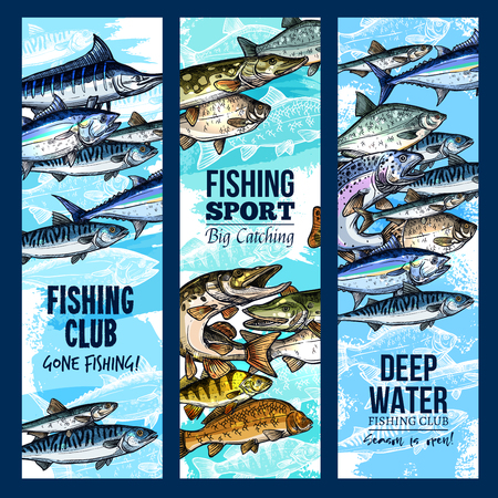 Vector banners for fishing or fisher sport club