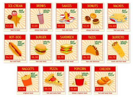 Fast food restaurant menu price cards