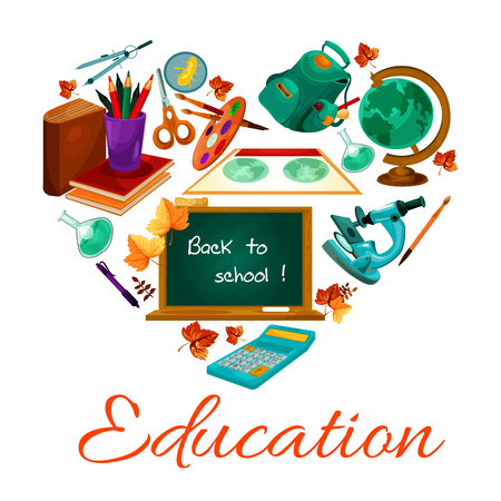 Education vector poster of school study supplies Illustration