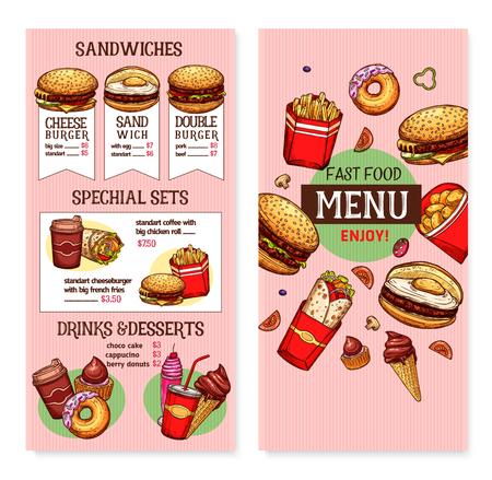 Vector fast food restaurant menu template