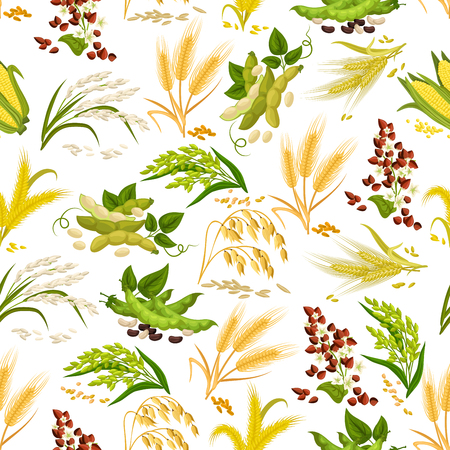 Cereals vector seamless pattern of grain Иллюстрация