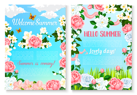 Hello Summer cartoon poster set with rose flowers