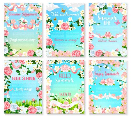 Hello Summer floral banner set with flower frame Illustration