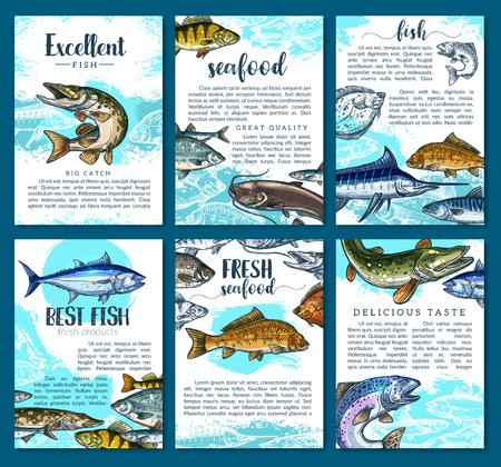 Vectoraffiches voor de markt van verse viszeevruchten