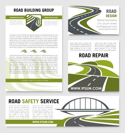 도 안전 건설 회사 포스터 및 배너 템플릿 집합. 고속도로 및 터널 및 교량을위한 벡터 설계 고속도로 또는 운송 서비스를위한 건물 및 수리 기술