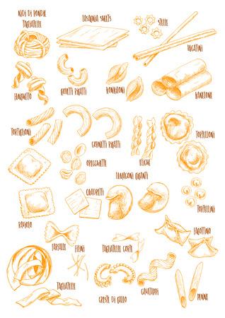 Italiaanse Pasta vector schets namen pictogrammen ingesteld