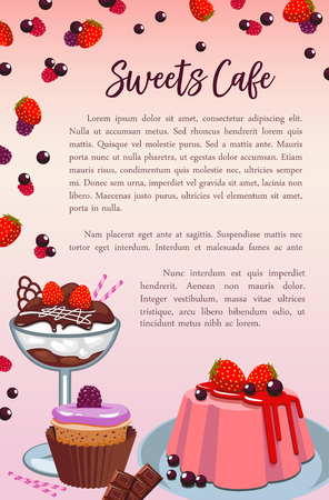 Bakery sweet desserts and cakes vector poster Ilustracja