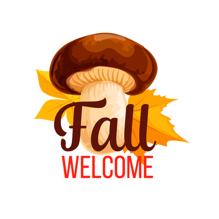 Autumn vector poster of fall mushroom and leaf