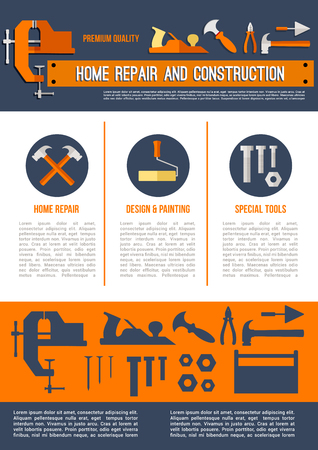 Home repair and construction poster or vector landing page template of work tools for house finishing design paint brush, hammer or screwdriver and wrench or plaster trowel, carpentry plane in toolbox