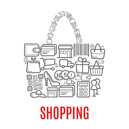 여자 쇼핑 가방 또는 지갑 벡터 판매 및 쇼핑 판매의 쇼핑 포스터 장바구니, 바코드, 신발 또는 돈을 드레스 마네킹 구매 아이콘 지갑 또는 신용 카드  일러스트