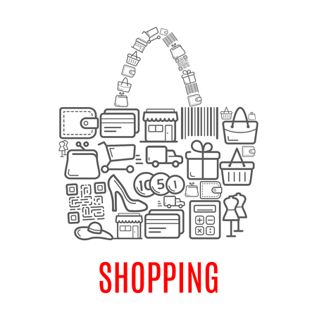 Shopping poster of woman shop bag or purse combined of vector retail and sale purchase icons of shopping cart, bar code, dress mannequin in shoes or money cash coins in wallet or credit card and gift Illusztráció