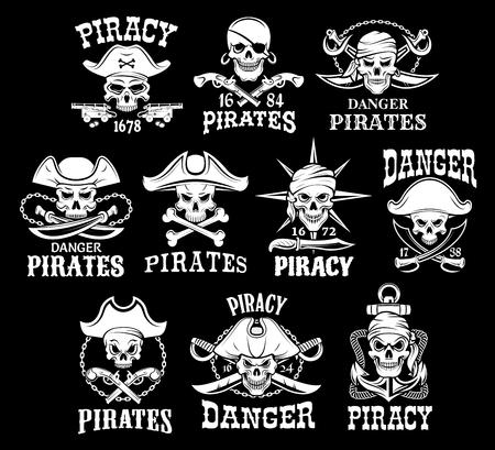 Piraten zwarte pictogrammen voor vector piraterij vlaggen