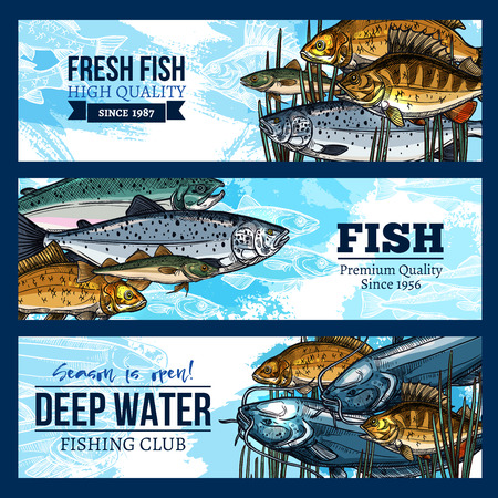 Vector banners for fishing or fisherman club Illustration