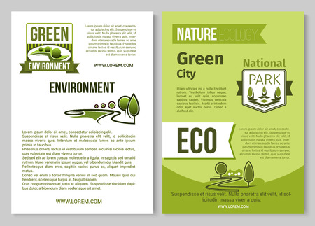 Green nature vector poster of eco environment