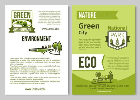 Groene natuur vector poster van eco-omgeving