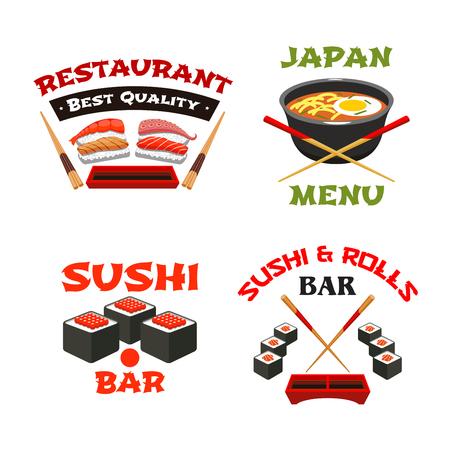 Vectorpictogrammenmalplaatje van Japans sushirestaurant Stock Illustratie