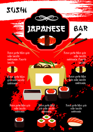 Japanese restaurant or sushi bar vector poster