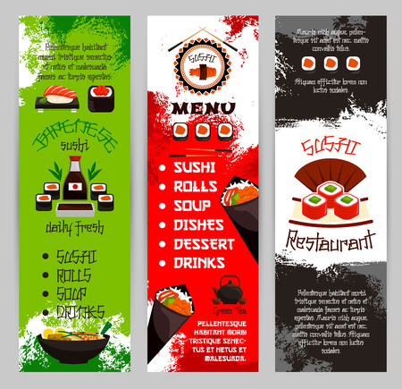 Japanese restaurant or sushi bar menu vector banners Illustration