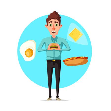 Man breakfast ou rapide icône vecteur de restauration rapide Banque d'images - 83082250