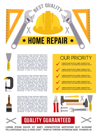 Vector poster template for home repair work tools Illustration