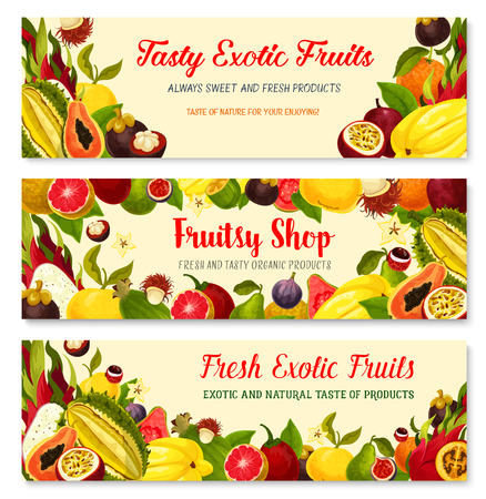 Exotic fruits banners set durian, mango or papaya and feijoa, fresh tropical mangosteen, carambola star fruit or rambutan and orange pomelo, dragonfruit pithaya, maracuya passion fruit or figs Illustration