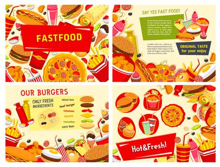 Vectorfastfoodaffiches voor snel voedselrestaurant